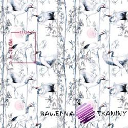 Bawełna żurawie japońskie na białym tle