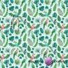 Bawełna papugi zielono różówe na zielonych liściach