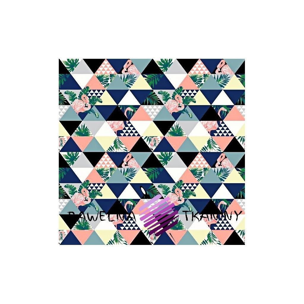 Bawełna flamingi w trójkątach różowo szaro niebieskie