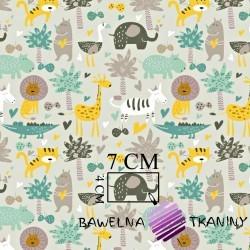Bawełna zwierzęta afrykańskie zielono żółte na szarym tle