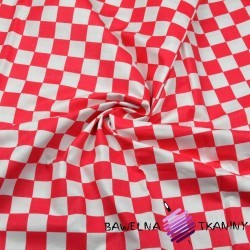 Bawełna szachownica 2cm biało czerwona