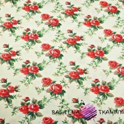 Bawełna kwiaty różyczki czerwone na ecru tle