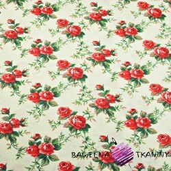 Cotton red roses on ecru background