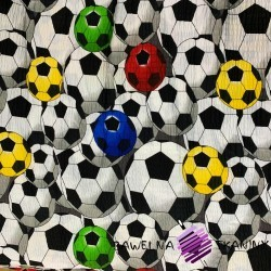 seersucker colourful footballs on white background