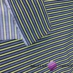 Tkanina dekoracyjna pasy czarno limonkowe
