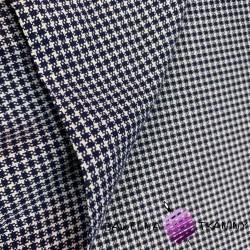 Tkanina dekoracyjna bawełniana kratka biało granatowa