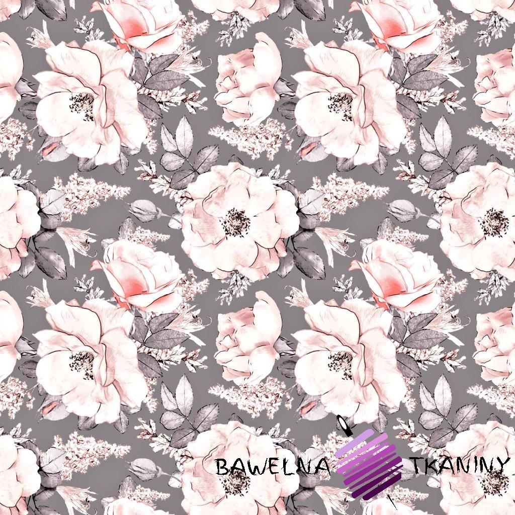 Bawełna kwiaty dzikiej róży na szarym tle