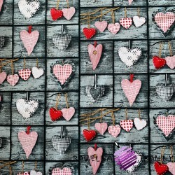 Cotton checkered Hearts red on a grey background