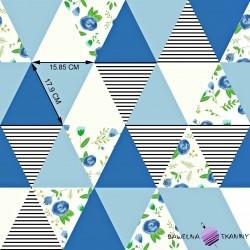 Bawełna łączka w trójkątach niebieskich