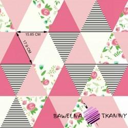 Bawełna łączka w trójkątach różowych