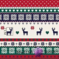Bawełna Wzór świąteczny skandynawski granatowo czerwono zielony
