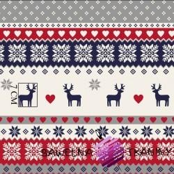 Bawełna Wzór świąteczny skandynawski granatowo czerwono szary
