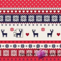 Bawełna Wzór świąteczny skandynawski granatowo czerwony