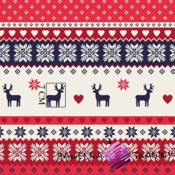 Cotton Scandinavian Christmas pattern navy blue red