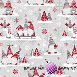 Bawełna wzór świąteczny skrzaty z reniferem na szarym tle