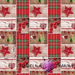 Bawełna wzór świąteczny serca wiszące z kratką drobną