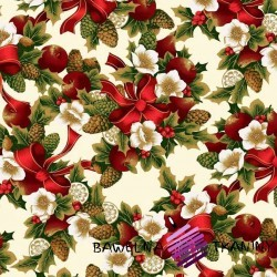 Cotton Christmas pattern red-green poinsettia on a white background