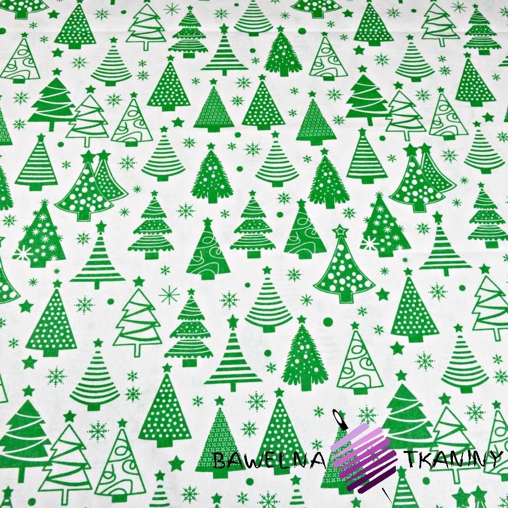 Bawełna Wzór świąteczny choinki z bombkami zielone na białym tle
