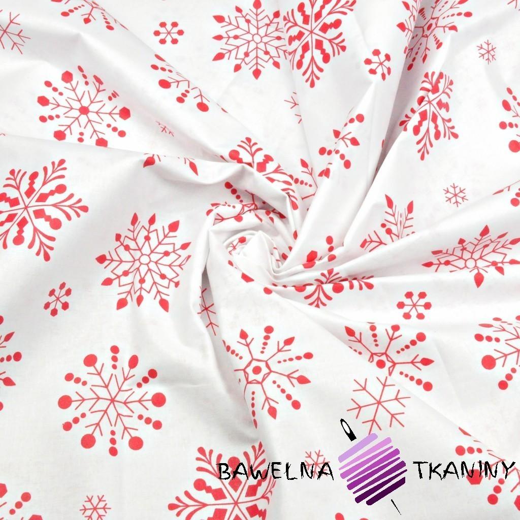 Bawełna wzór świąteczny śnieżynki duże czerwone na białym tle