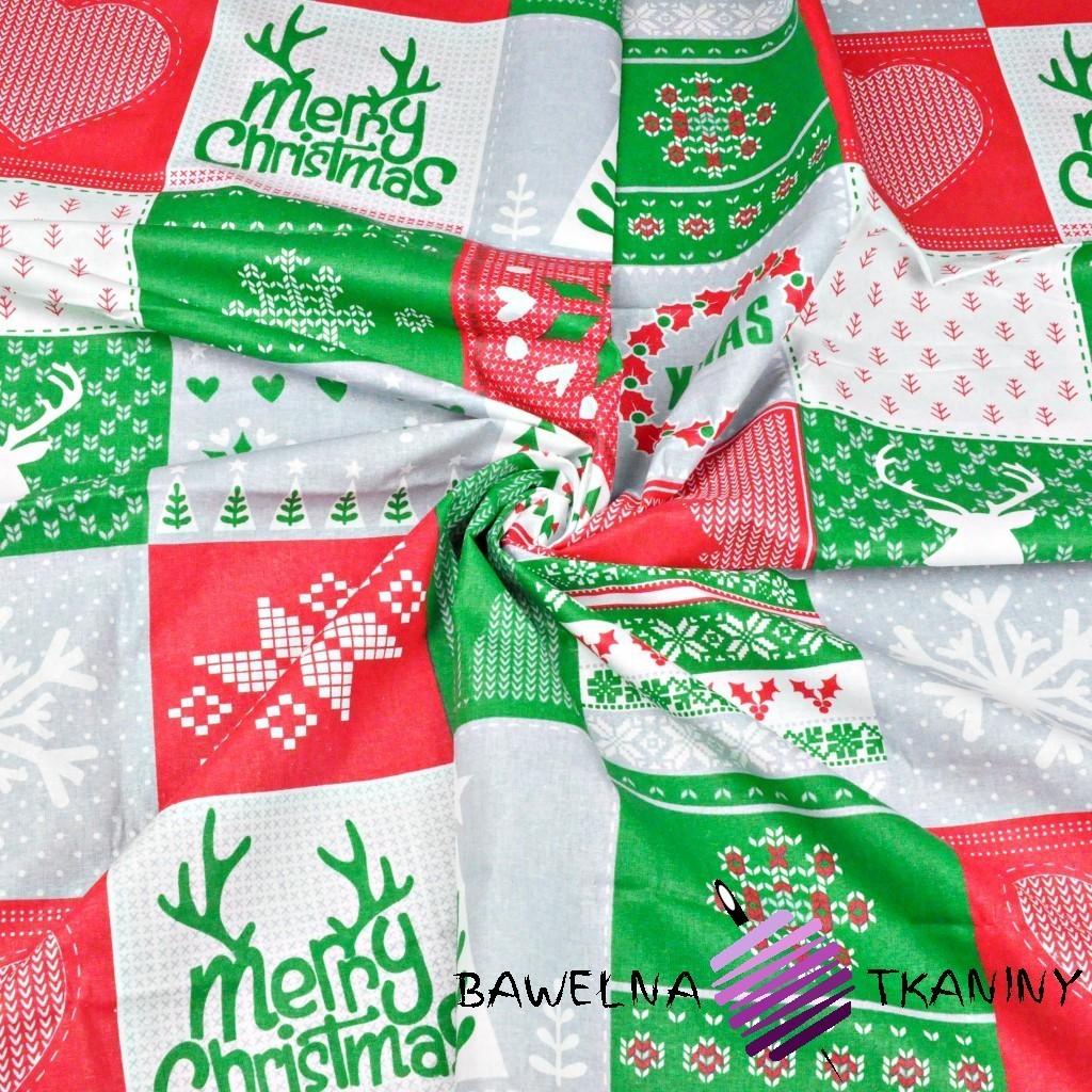 Bawełna Wzór świąteczny patchwork zielono czerwono szary