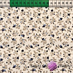 Cotton navy blue meadow on ecru background
