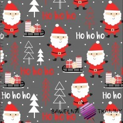 Cotton Christmas pattern Santas on dark gray background
