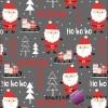 Bawełna wzór świąteczny mikołaje ciemno szarym tle
