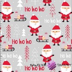 Bawełna wzór świąteczny mikołaje jasno szarym tle