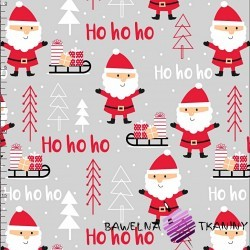 Cotton Christmas pattern Santas on light gray background