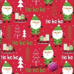 Bawełna wzór świąteczny mikołaje czerwonym tle