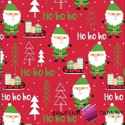 Cotton Christmas pattern Santas on red background