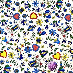 Cotton blue folk pattern on white background
