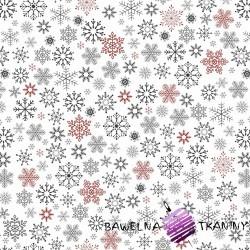 Bawełna wzór świąteczny śnieżynki czerwono grafitowe na białym tle