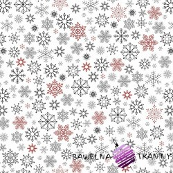 Cotton big red & gray snowflake on white background