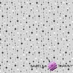 Bawełna Gwiazdki na łańcuchu biało czarne na szarym tle