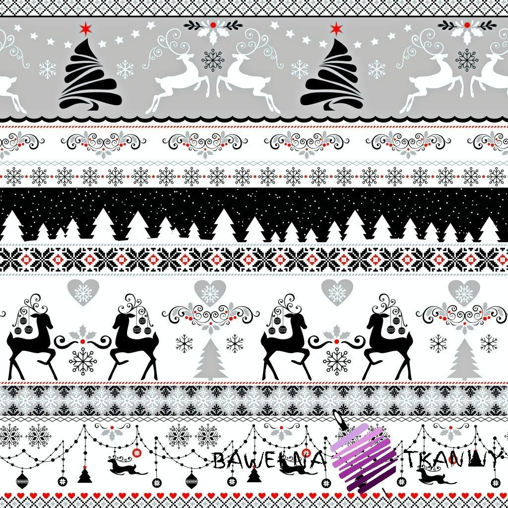 Bawełna wzór świąteczny jelonki czarno szare na białym tle