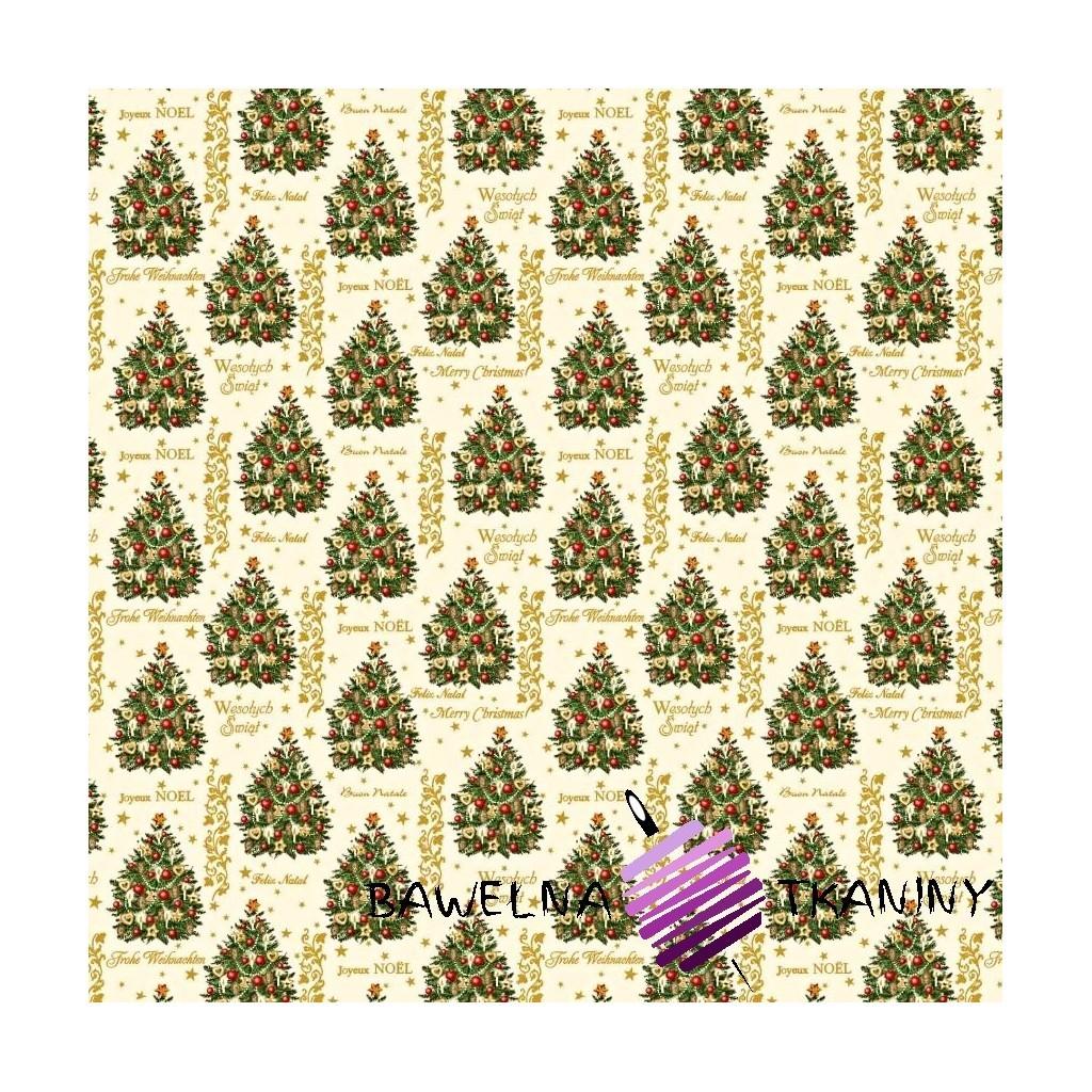 Bawełna wzór świąteczny złocone choinki z bombkami na ecru tle