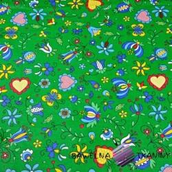 Bawełna wzór kaszubski niebieski na zielonym tle