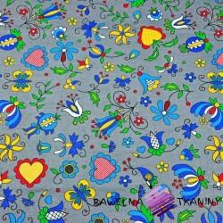 Bawełna wzór kaszubski niebieski na szarym tle