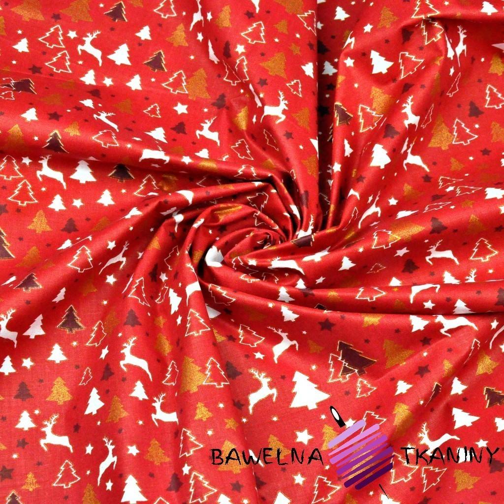 Bawełna wzór świąteczny MINI renifery i choinki na czerwonym tle