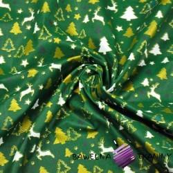 Bawełna wzór świąteczny MINI renifery i choinki na zielonym tle