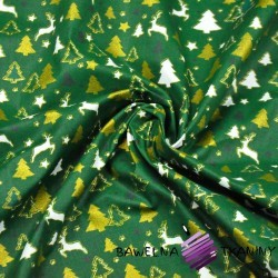 Cotton Christmas pattern MINI reindeer and Christmas trees on a green background
