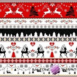Bawełna wzór świąteczny jelonki czarno czerwone na białym tle