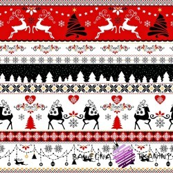 Cotton Christmas pattern black-red deer on a white background
