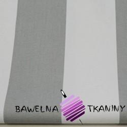Bawełna pasy 6cm biało szare