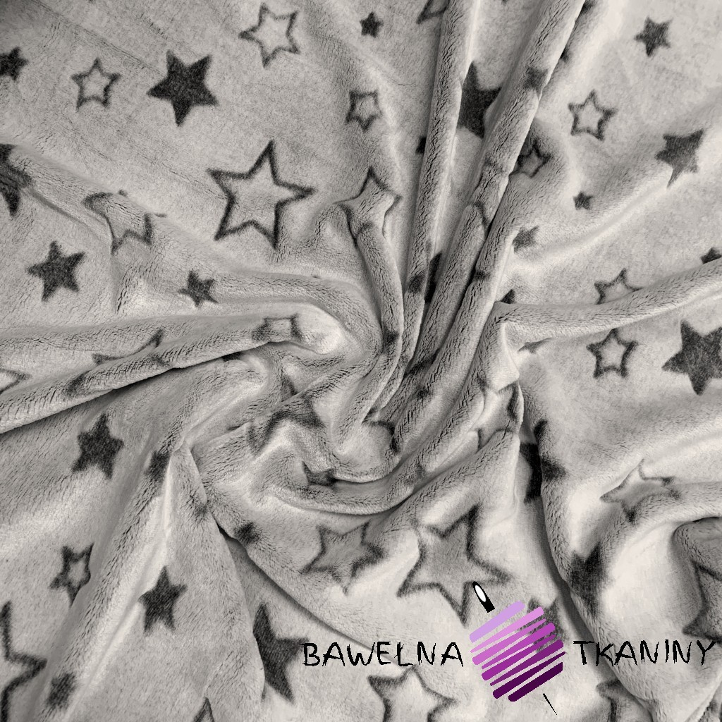 Fleece plus two-sided gray & gray stars - 220cm