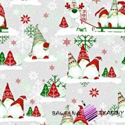 Bawełna Wzór świąteczny skrzaty zielono czerwone z reniferem na szarym tle