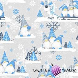 Bawełna Wzór świąteczny skrzaty niebieskie z reniferem na szarym tle