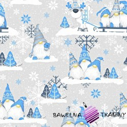 Cotton Christmas pattern blue sprites with reindeer on a gray background