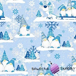 Bawełna Wzór świąteczny skrzaty niebieskie z reniferem na niebieskim tle